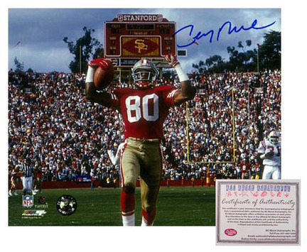 "Jerry Rice San Francisco 49ers NFL Autographed ""Touchdown"" 8"" x 10"" Photograph (Unframed)"