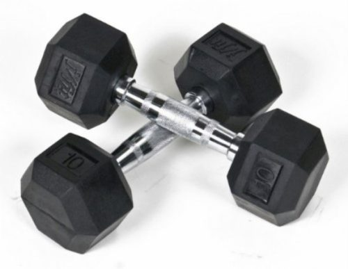 Jfit 20-6518 18 lbs. Rubber Hex Dumbbell