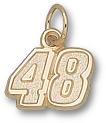 "Jimmie Johnson Small Driver Number ""48"" 3/8"" Charm - 14KT Gold Jewelry"