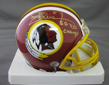 Joe Theismann Washington Redskins NFL Autographed Mini Football Helmet with SB XVII Champs Inscription