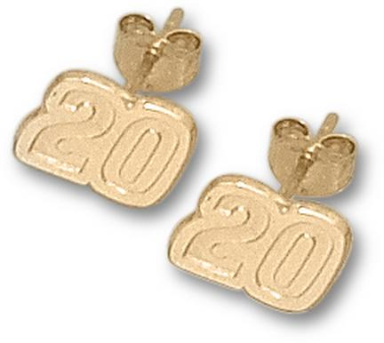 "Joey Logano 1/4"" Very Small #20 Post Earrings - 10KT Gold Jewelry"