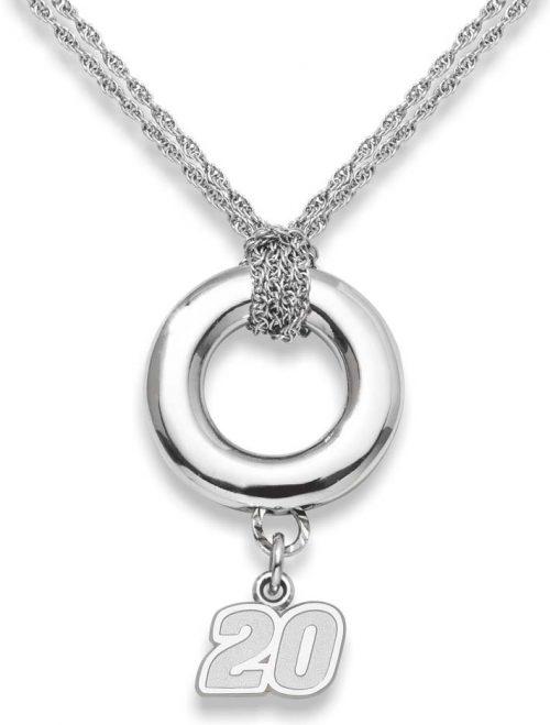 "Joey Logano #20 3/8"" Logo Sterling Silver Halo Necklace"