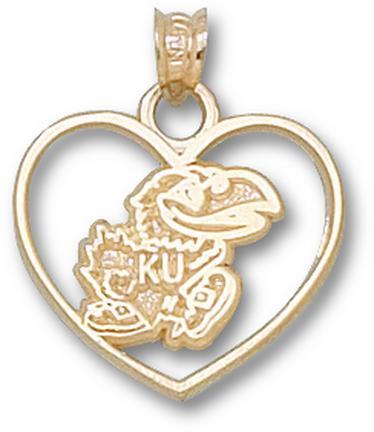 "Kansas Jayhawks ""Jayhawk"" Heart Pendant - 10KT Gold Jewelry"