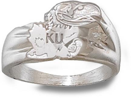 """Kansas Jayhawks """"Jayhawk"""" Men's Ring Size 10 1/2 - Sterling Silver Jewelry"""