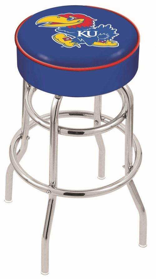 "Kansas Jayhawks (L7C1) 25"" Tall Logo Bar Stool by Holland Bar Stool Company (with Double Ring Swivel Chrome Base)"