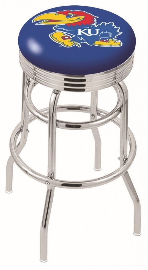 "Kansas Jayhawks (L7C3C) 30"" Tall Logo Bar Stool by Holland Bar Stool Company (with Double Ring Swivel Chrome Base)"