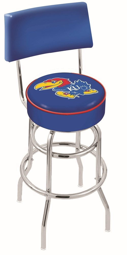 "Kansas Jayhawks (L7C4) 30"" Tall Logo Bar Stool by Holland Bar Stool Company (with Double Ring Swivel Chrome Base and Chair Seat Back)"