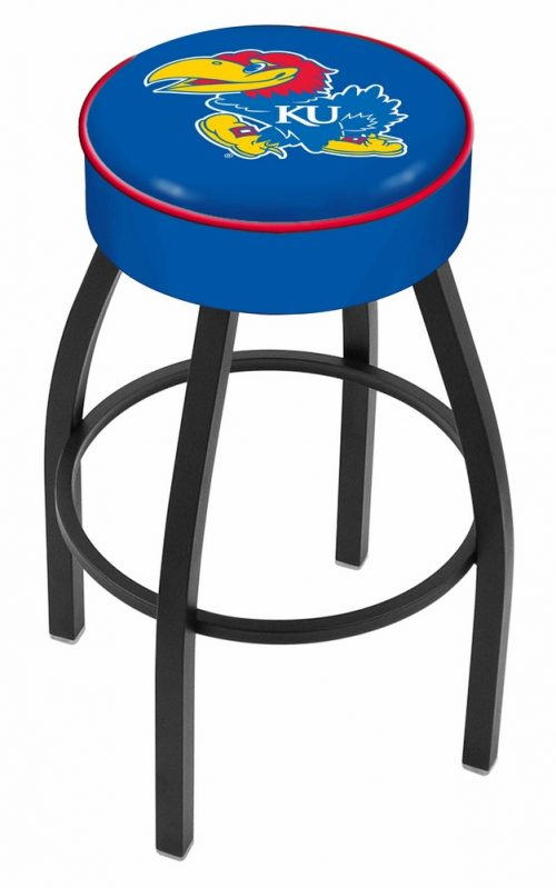 "Kansas Jayhawks (L8B1) 25"" Tall Logo Bar Stool by Holland Bar Stool Company (with Single Ring Swivel Black Solid Welded Base)"