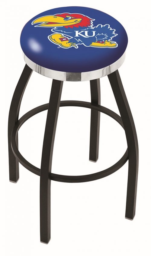 "Kansas Jayhawks (L8B2C) 25"" Tall Logo Bar Stool by Holland Bar Stool Company (with Single Ring Swivel Black Solid Welded Base)"