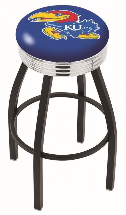 "Kansas Jayhawks (L8B3C) 25"" Tall Logo Bar Stool by Holland Bar Stool Company (with Single Ring Swivel Black Solid Welded Base)"