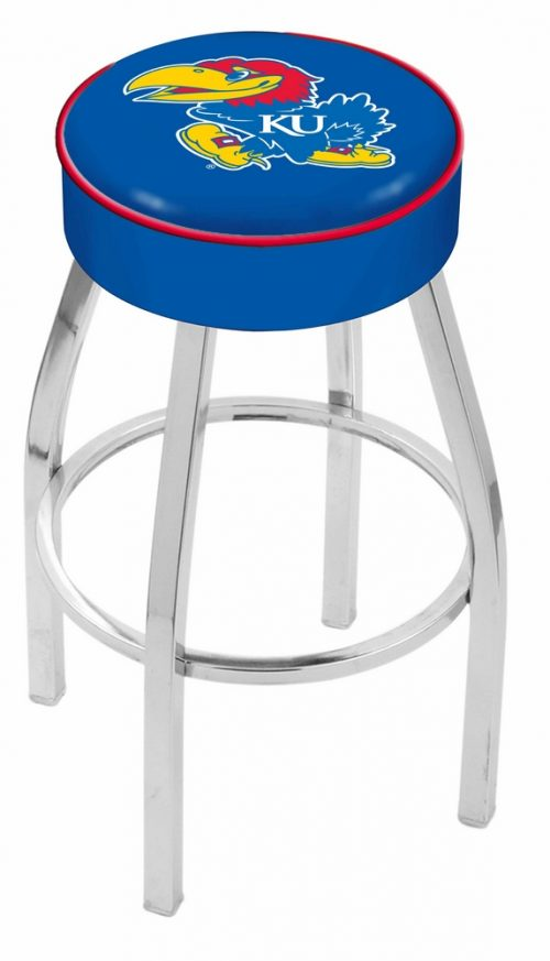 "Kansas Jayhawks (L8C1) 25"" Tall Logo Bar Stool by Holland Bar Stool Company (with Single Ring Swivel Chrome Solid Welded Base)"