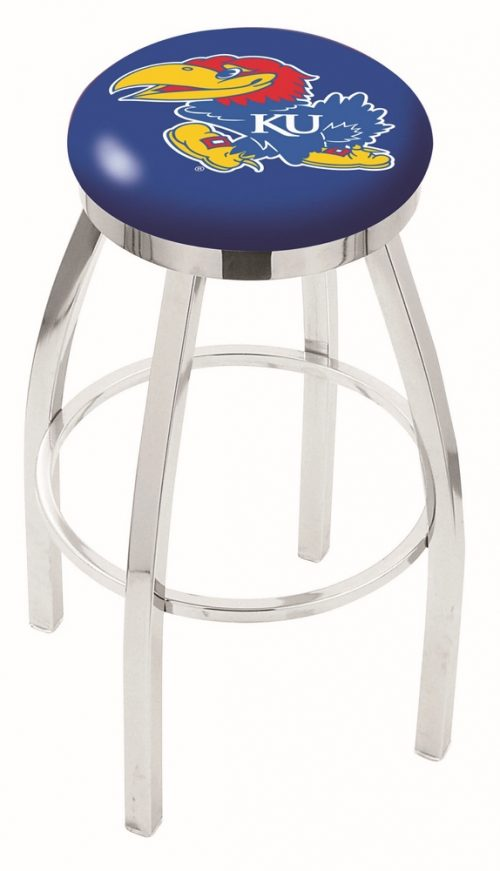 "Kansas Jayhawks (L8C2C) 25"" Tall Logo Bar Stool by Holland Bar Stool Company (with Single Ring Swivel Chrome Solid Welded Base)"