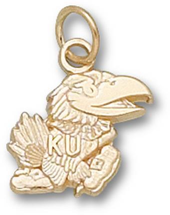 "Kansas Jayhawks Molded ""Jayhawk"" 7/16"" Charm - 10KT Gold Jewelry"