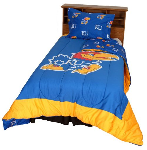 Kansas Jayhawks Reversible Comforter Set (Queen)