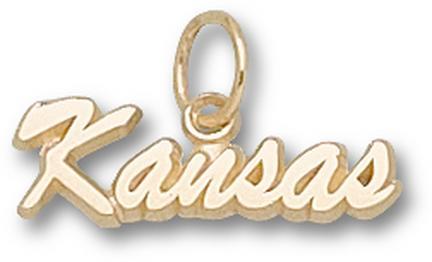 "Kansas Jayhawks Script ""Kansas"" Charm - 14KT Gold Jewelry"