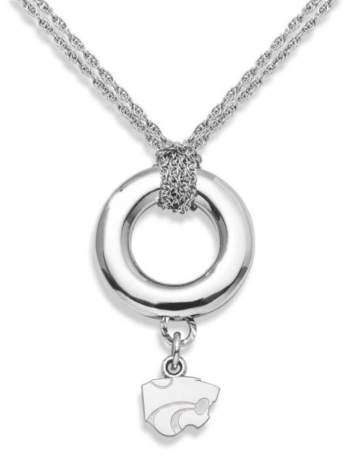 "Kansas State Wildcats 3/8"" Powercat Sterling Silver Halo Necklace"