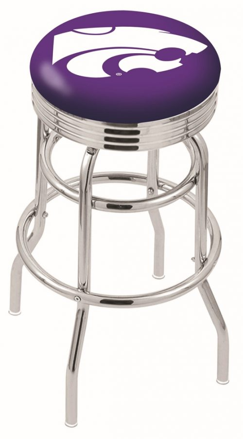 """Kansas State Wildcats (L7C3C) 30"""" Tall Logo Bar Stool by Holland Bar Stool Company (with Double Ring Swivel Chrome Base)"""