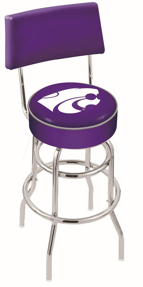 """Kansas State Wildcats (L7C4) 30"""" Tall Logo Bar Stool by Holland Bar Stool Company (with Double Ring Swivel Chrome Base and Chair Seat Back)"""