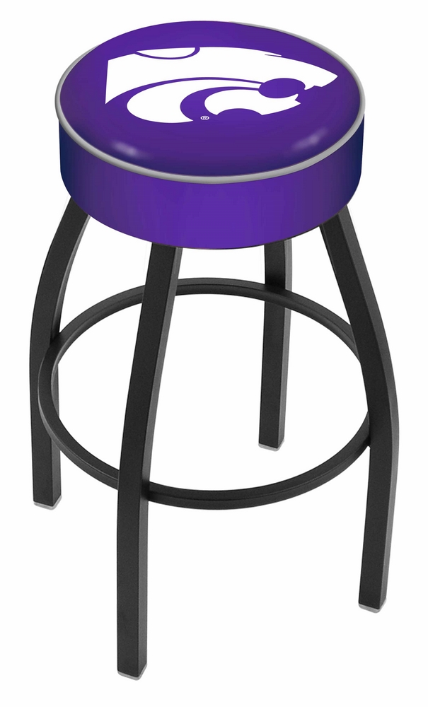 "Kansas State Wildcats (L8B1) 30"" Tall Logo Bar Stool by Holland Bar Stool Company (with Single Ring Swivel Black Solid Welded Base)"