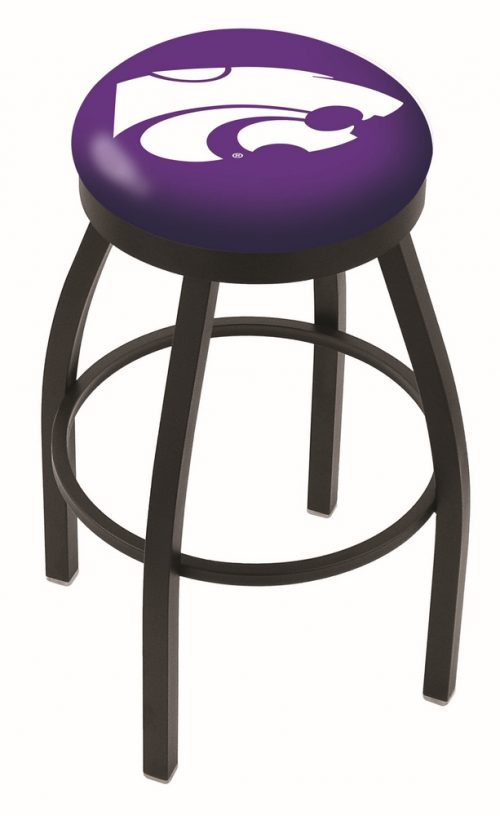 "Kansas State Wildcats (L8B2B) 25"" Tall Logo Bar Stool by Holland Bar Stool Company (with Single Ring Swivel Black Solid Welded Base)"