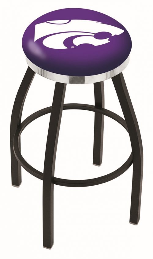 "Kansas State Wildcats (L8B2C) 25"" Tall Logo Bar Stool by Holland Bar Stool Company (with Single Ring Swivel Black Solid Welded Base)"