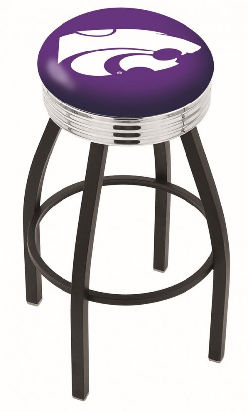 "Kansas State Wildcats (L8B3C) 25"" Tall Logo Bar Stool by Holland Bar Stool Company (with Single Ring Swivel Black Solid Welded Base)"