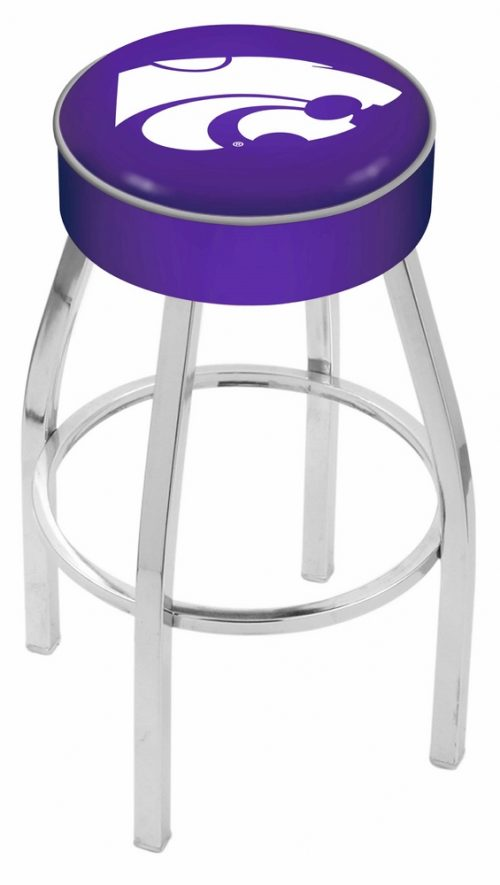 """Kansas State Wildcats (L8C1) 25"""" Tall Logo Bar Stool by Holland Bar Stool Company (with Single Ring Swivel Chrome Solid Welded Base)"""