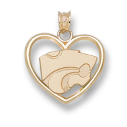 "Kansas State Wildcats ""Powercat"" 3/8"" Heart Pendant - 14KT Gold Jewelry"
