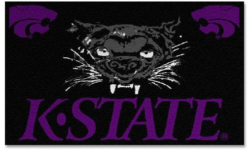 "Kansas State Wildcats with ""Wildcat"" 3' x 5' Small Top View Area Rug"