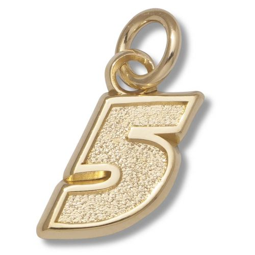 "Kasey Kahne #5 3/8"" Small Charm - 14KT Gold Jewelry"