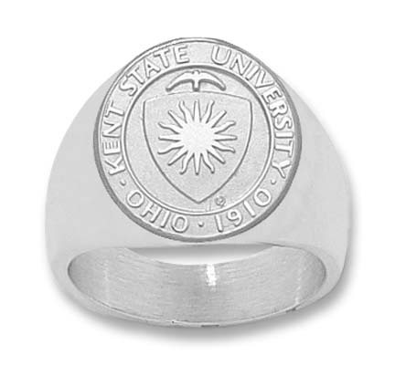 """Kent State Golden Flashes """"Seal"""" Men's Ring Size 10 1/2 - Sterling Silver Jewelry"""