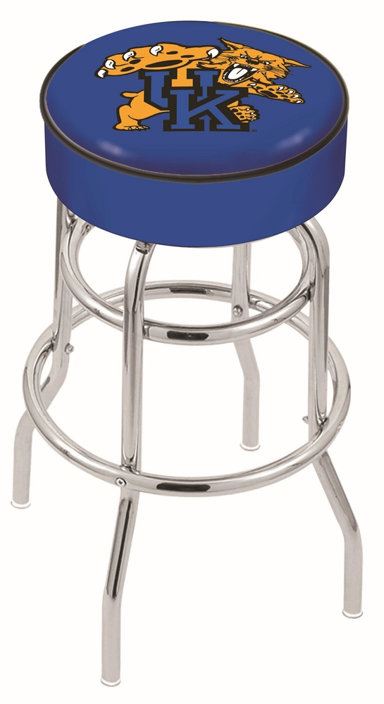 "Kentucky Wildcats (L7C1) 25"" Tall Logo Bar Stool by Holland Bar Stool Company (with Double Ring Swivel Chrome Base)"