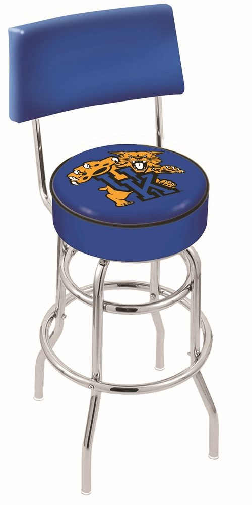 "Kentucky Wildcats (L7C4) 25"" Tall Logo Bar Stool by Holland Bar Stool Company (with Double Ring Swivel Chrome Base and Chair Seat Back)"