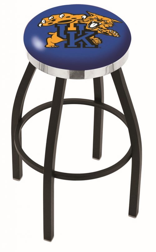 "Kentucky Wildcats (L8B2C) 25"" Tall Logo Bar Stool by Holland Bar Stool Company (with Single Ring Swivel Black Solid Welded Base)"