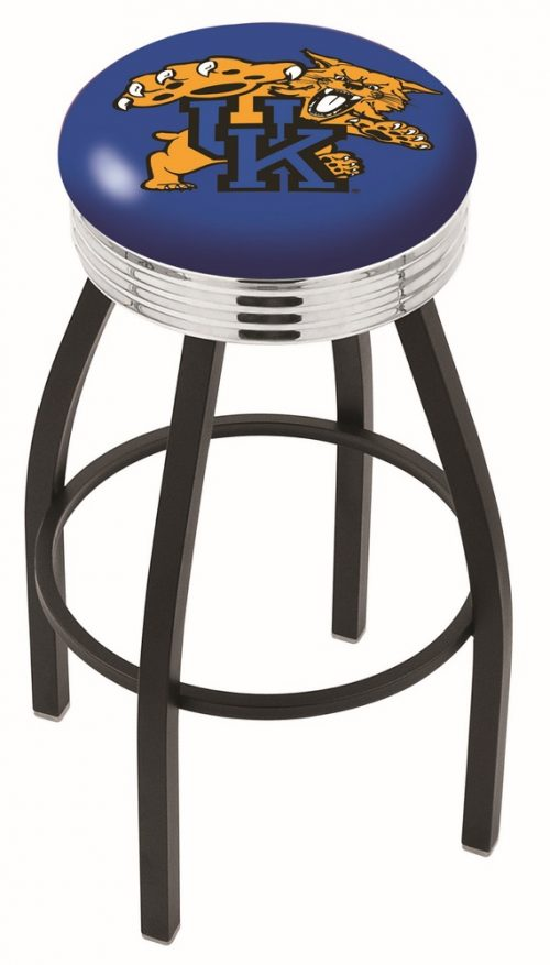 """Kentucky Wildcats (L8B3C) 30"""" Tall Logo Bar Stool by Holland Bar Stool Company (with Single Ring Swivel Black Solid Welded Base)"""