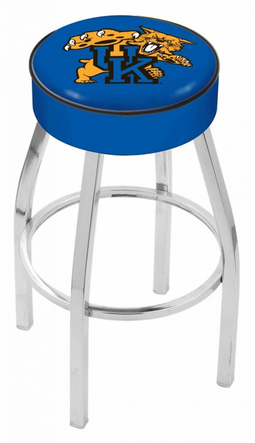"Kentucky Wildcats (L8C1) 25"" Tall Logo Bar Stool by Holland Bar Stool Company (with Single Ring Swivel Chrome Solid Welded Base)"