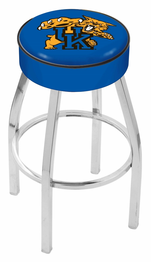 """Kentucky Wildcats (L8C1) 25"""" Tall Logo Bar Stool by Holland Bar Stool Company (with Single Ring Swivel Chrome Solid Welded Base)"""