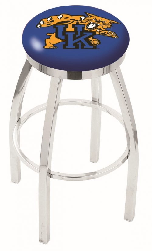 "Kentucky Wildcats (L8C2C) 25"" Tall Logo Bar Stool by Holland Bar Stool Company (with Single Ring Swivel Chrome Solid Welded Base)"