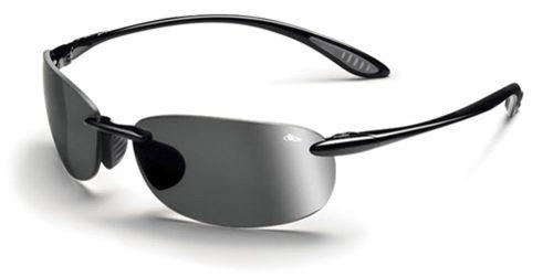 Kickback Sunglasses with Shiny Black Frames and Polarized TNS Gun Lenses from Bolle