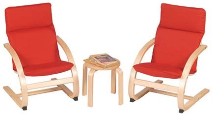 Kiddie Rocker Table and Chairs Set (Red)