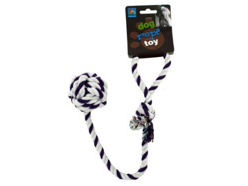 Kole Imports DI233-96 18 in. Knotted Rope Dog Toy with Ball - Pack of 96