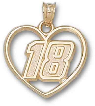 "Kyle Busch Driver Number ""18"" Heart Pendant - 10KT Gold Jewelry"