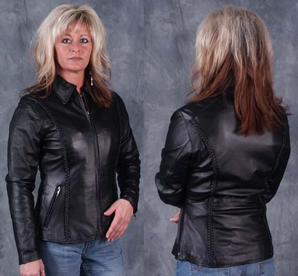 Ladies Soft Nappa Leather Biker Jacket
