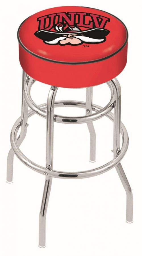 "Las Vegas (UNLV) Runnin' Rebels (L7C1) 25"" Tall Logo Bar Stool by Holland Bar Stool Company (with Double Ring Swivel Chrome Base)"