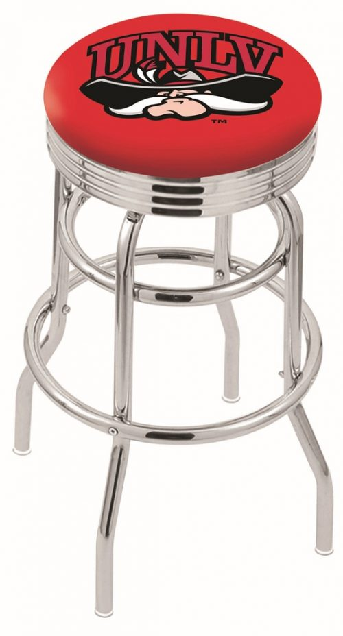 "Las Vegas (UNLV) Runnin' Rebels (L7C3C) 25"" Tall Logo Bar Stool by Holland Bar Stool Company (with Double Ring Swivel Chrome Base)"