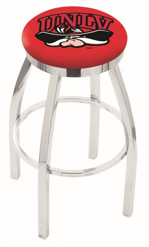 "Las Vegas (UNLV) Runnin' Rebels (L8C2C) 30"" Tall Logo Bar Stool by Holland Bar Stool Company (with Single Ring Swivel Chrome Solid Welded Base)"