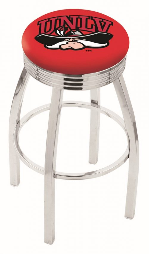 "Las Vegas (UNLV) Runnin' Rebels (L8C3C) 30"" Tall Logo Bar Stool by Holland Bar Stool Company (with Single Ring Swivel Chrome Solid Welded Base)"