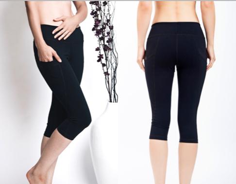 LeaLee Apparel CLB102 Womens Lotus Capri Leggings Black - Small