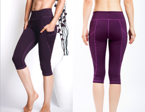 LeaLee Apparel CLP102 Womens Lotus Capri Leggings Purple - Small