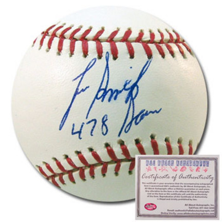 "Lee Smith Autographed Rawlings MLB Baseball with ""478 Saves"" Inscription"